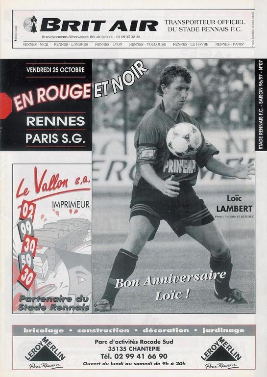 1996-10-25  Rennes-PSG (14ème D1, En Rouge et Noir N°7)