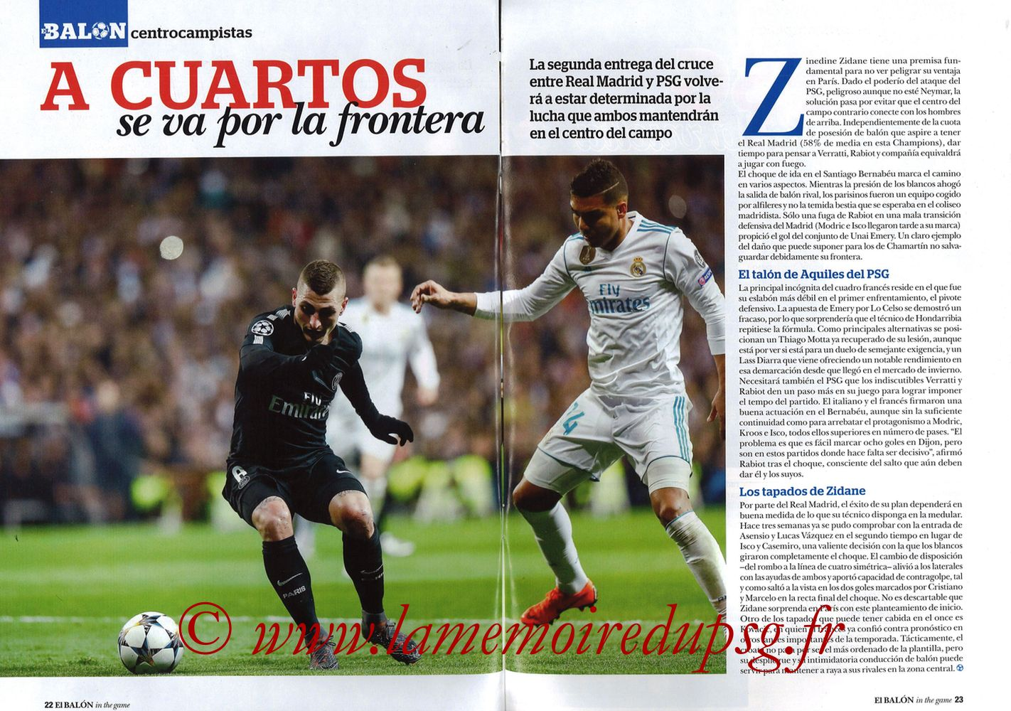 2018-03-06  PSG-Real Madrid (8ème Retourr C1, El Balon in the game N°49) - Pages 22 et 23