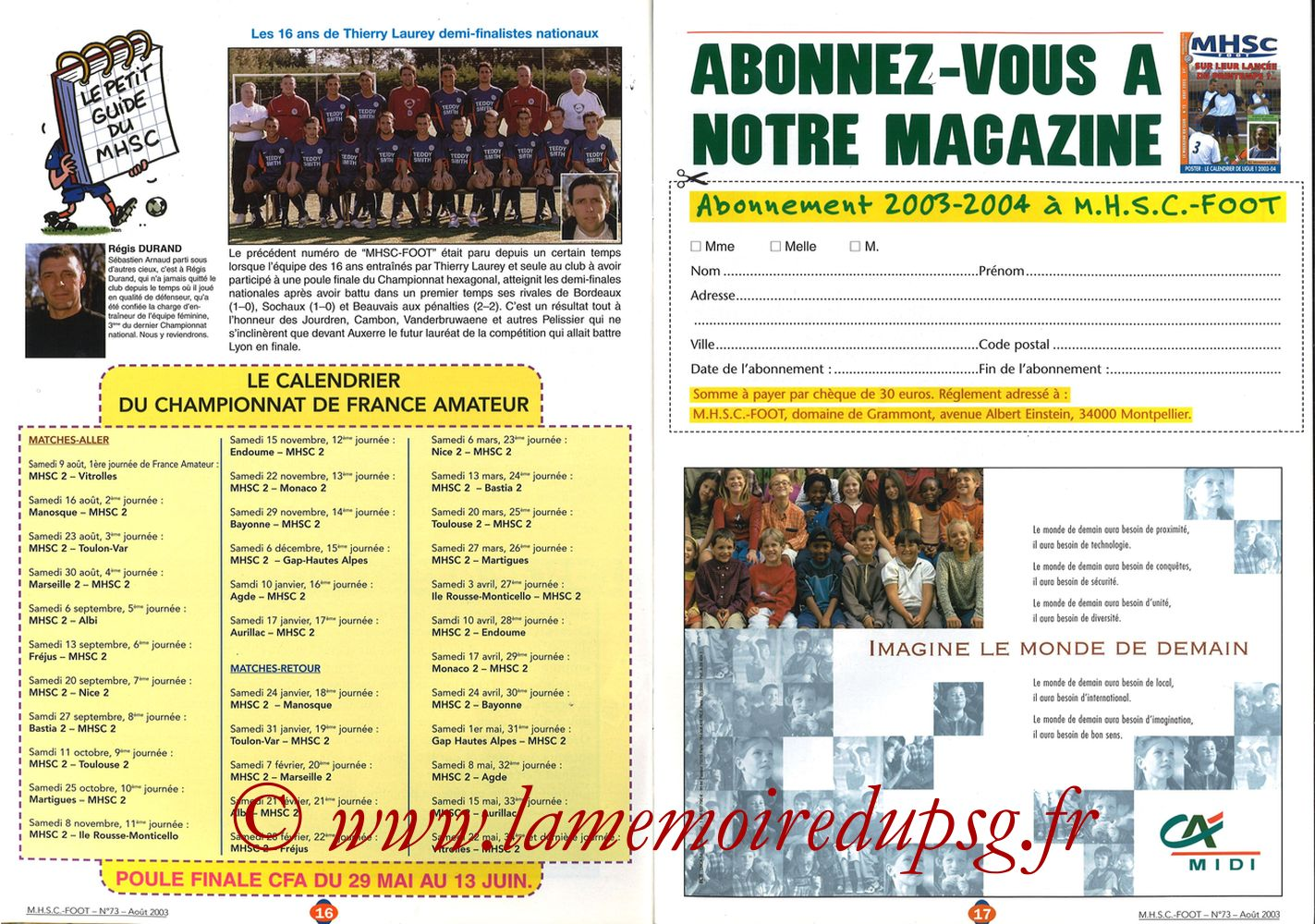 2003-08-30  Montpellier-PSG (5ème L1, MHSC Foot N°73) - Pages 16 et 17