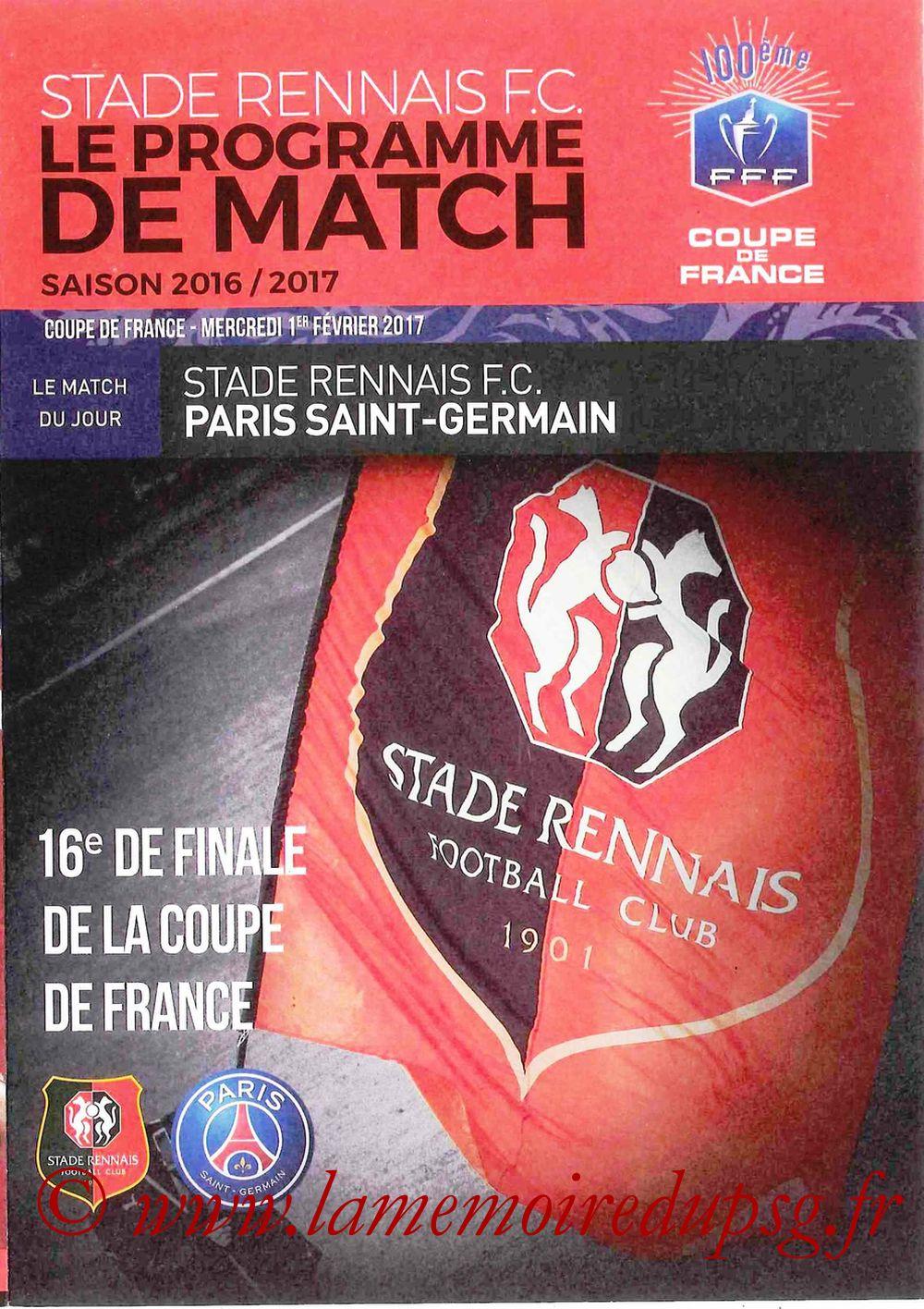 2017-02-01  Rennes-PSG (16ème CF, Programme officiel)