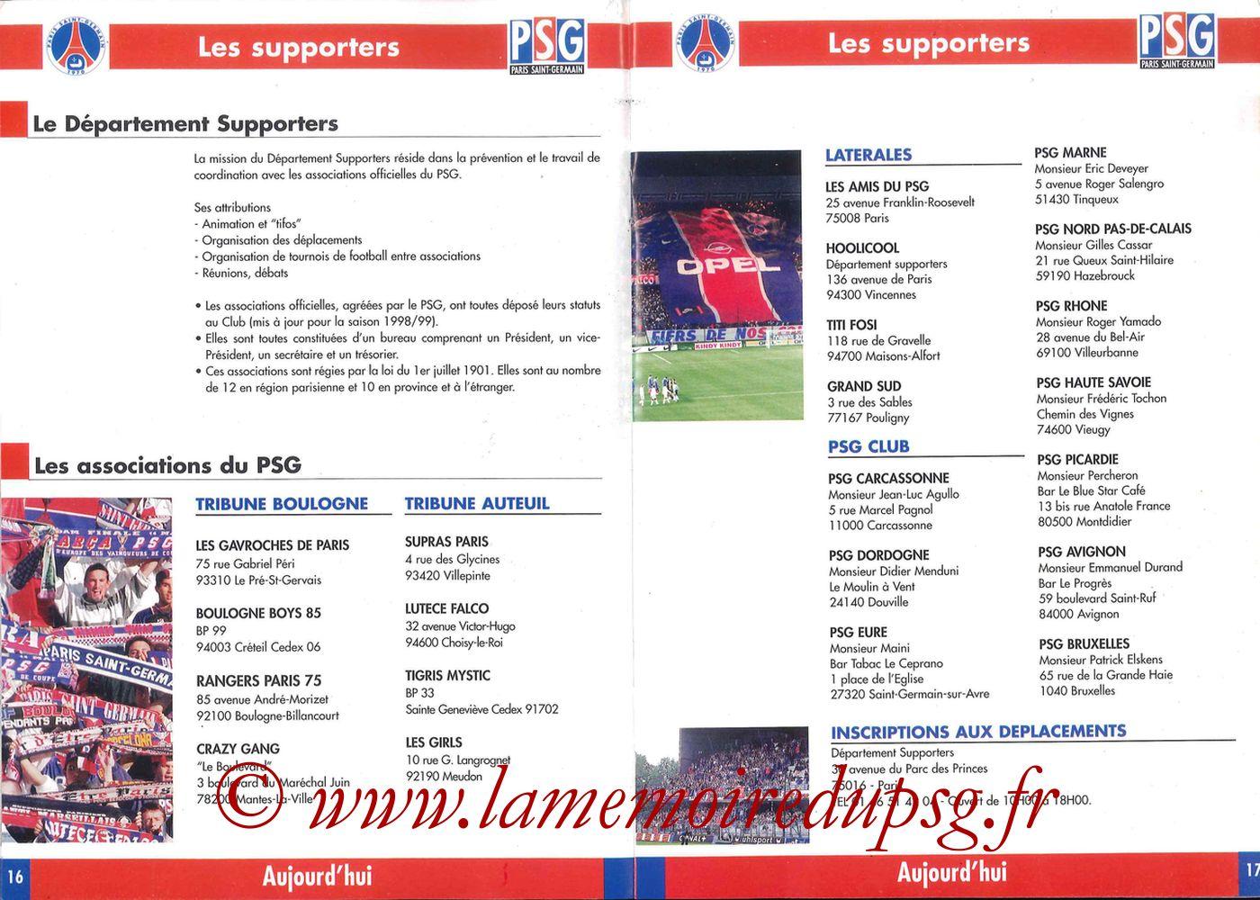 1998-99 - Guide de la Saison PSG - Pages 16 et 17