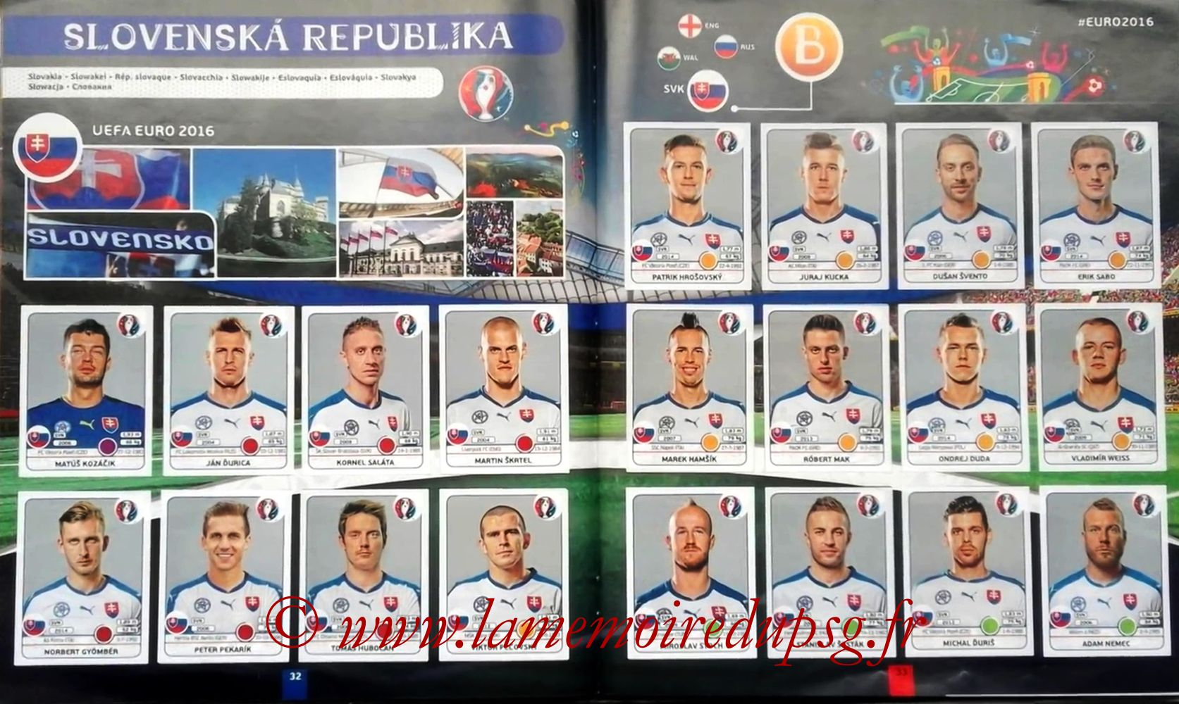 Panini Euro 2016 Stickers - Pages 32 et 33 - Slovenie