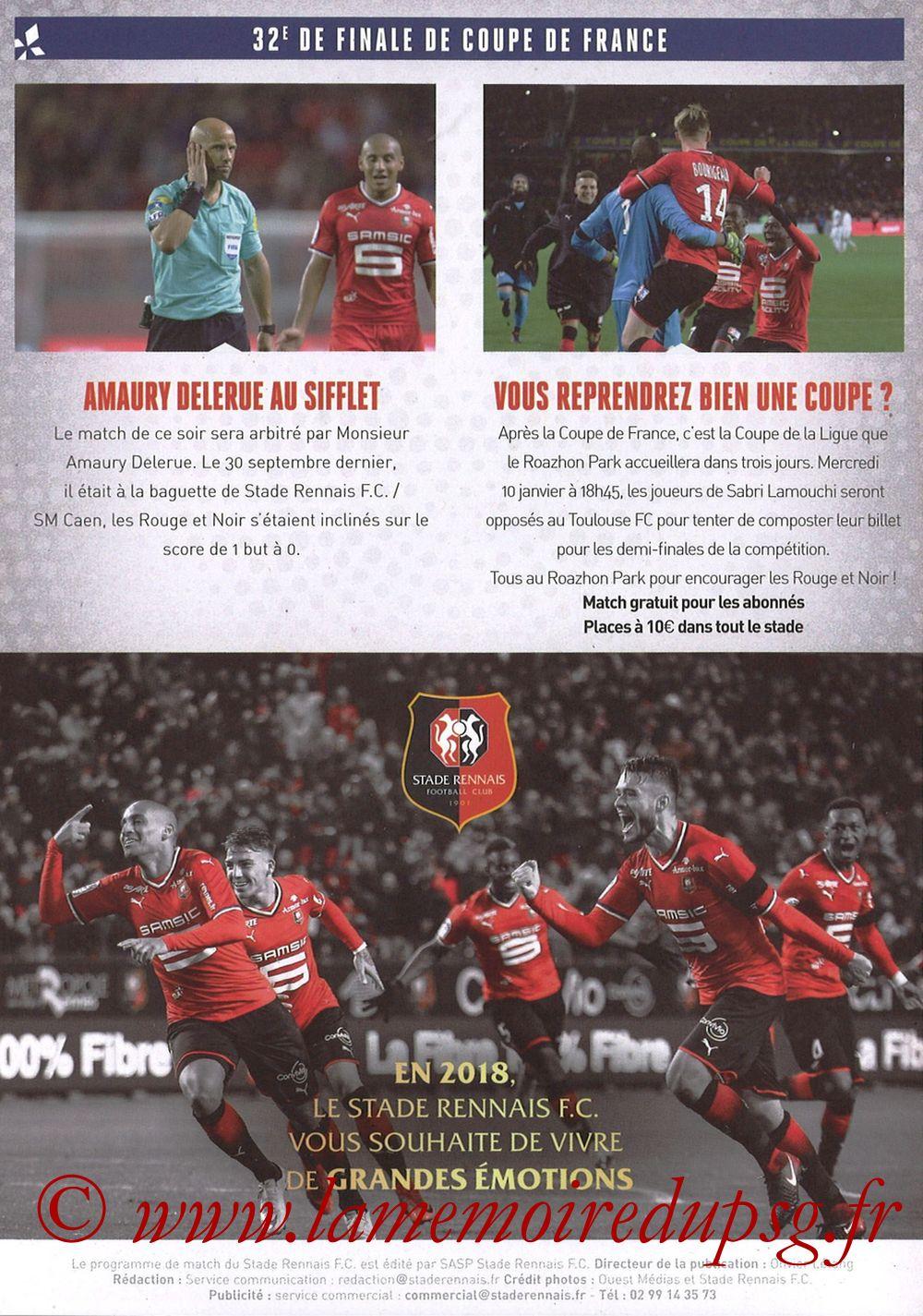 2018-01-07  Rennes-PSG (32ème CF, Programme Officiel) - Pages 04