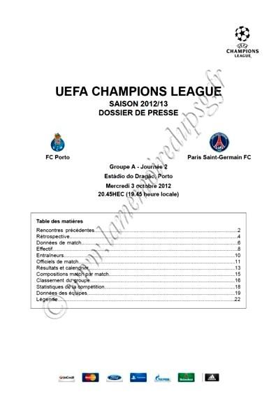 2012-10-03  FC Porto-PSG (2ème Journée Poule C1, Dossier de presse)