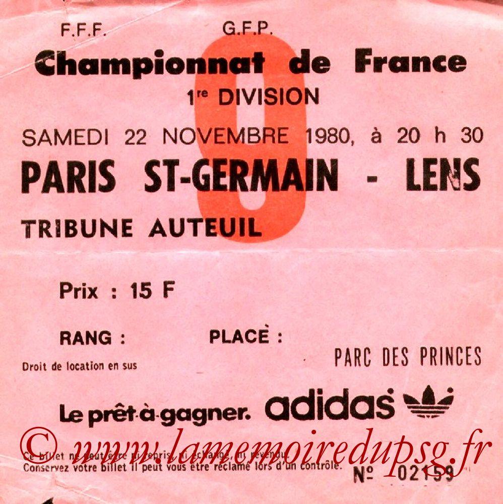1980-11-22  PSG-Lens (19ème D1, Ticket N°9)