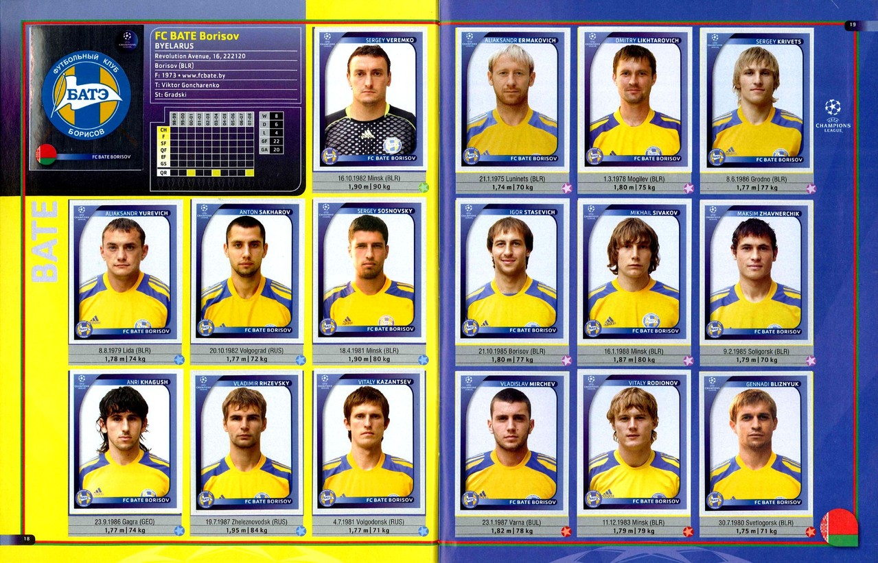2008-09 - Panini Champions League - Pages 18 et 19 - FC Bate Borisov