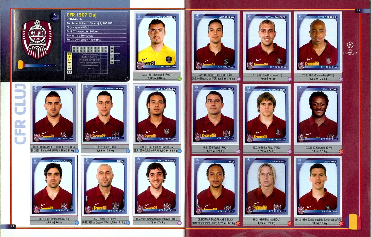 2008-09 - Panini Champions League - Pages 28 et 29 - CFR 1907 Cluj