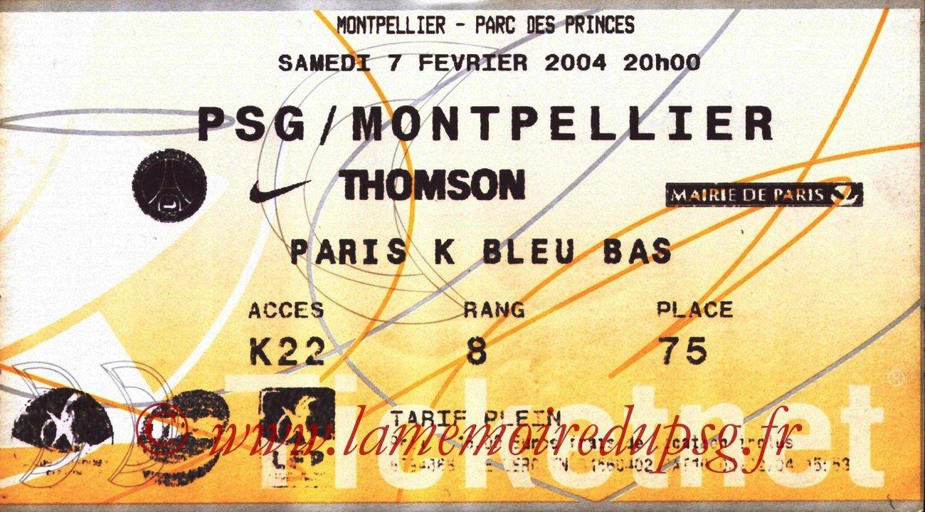 2004-02-07   PSG-Montpellier  (23ème L1, Ticketnet)