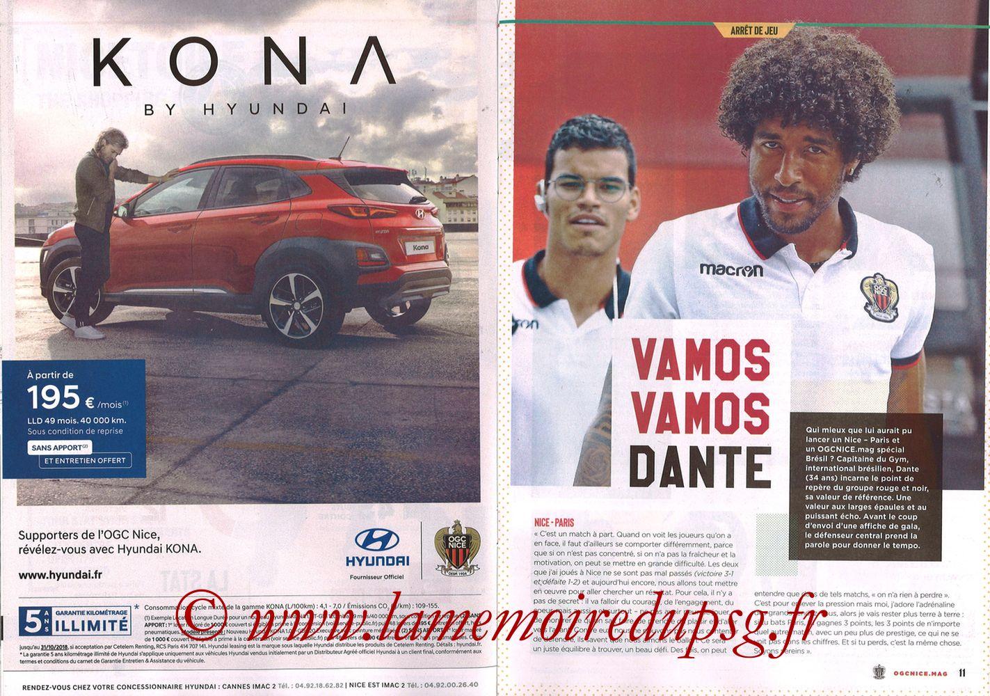 2018-09-29  Nice-PSG (8ème L1, Ogcnice.Mag N°313) - Pages 10 et 11