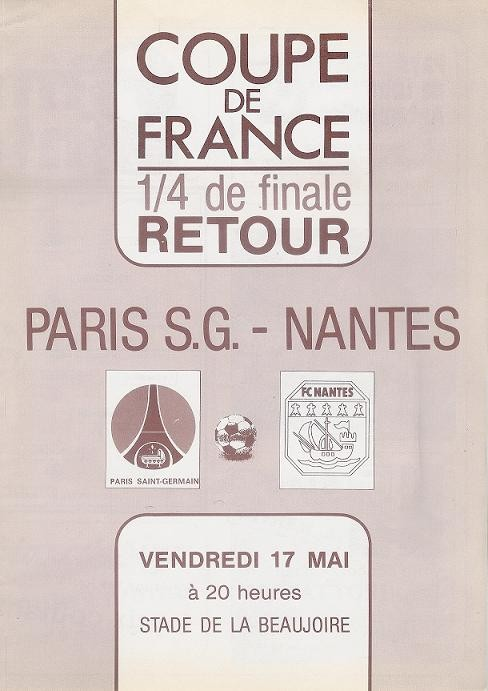 1985-05-17  Nantes-PSG (Quart Finale Retour CF)