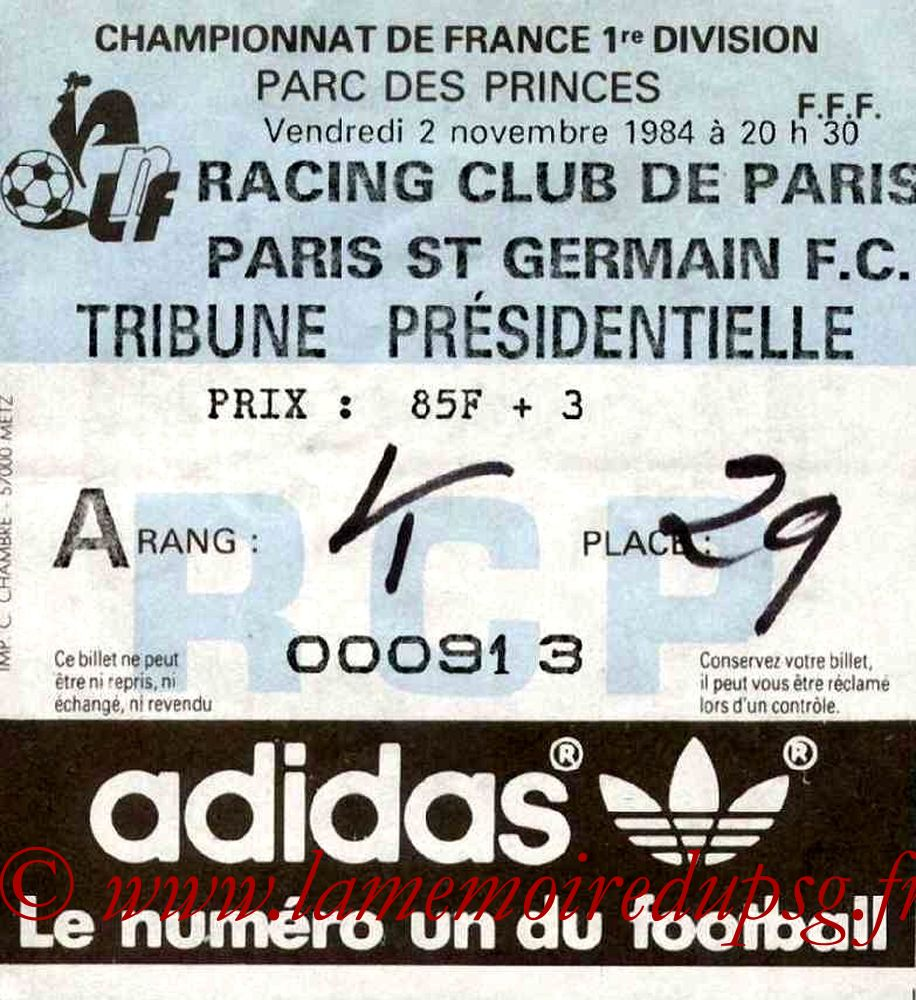 1984-11-02  Racing Paris-PSG (15ème D1)bis
