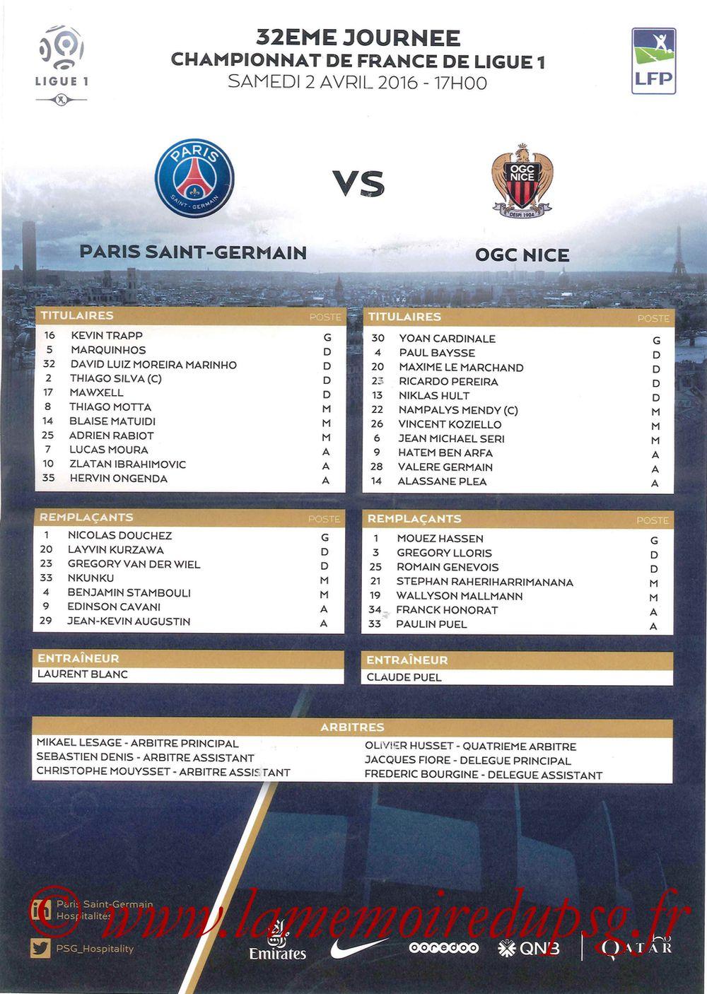 2016-04-02  PSG-Nice (32ème L1, Feuille de match)