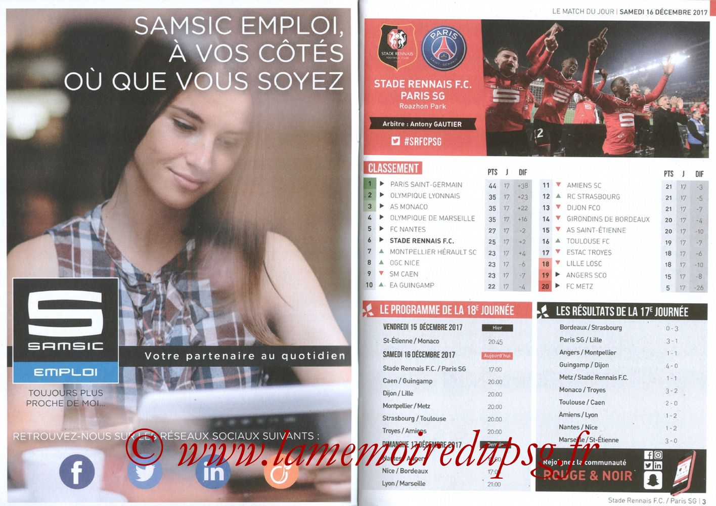2017-12-16  Rennes-PSG (18ème L1, Le Programme de match) - Pages 02 et 03