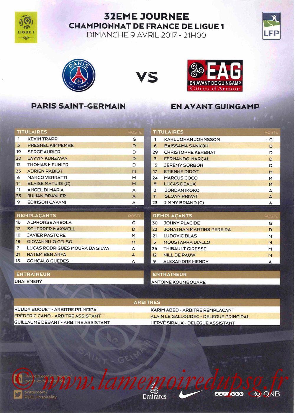 2017-04-09  PSG-Guingamp (32ème L1, Feuille de match)