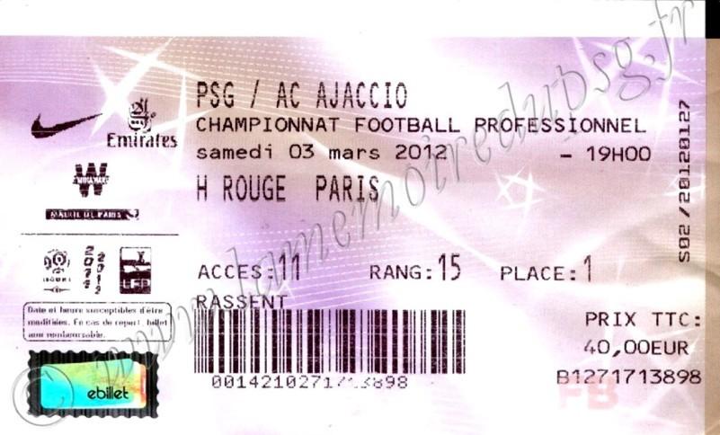 2012-03-04  PSG-Ajaccio (26ème L1, Billetel)