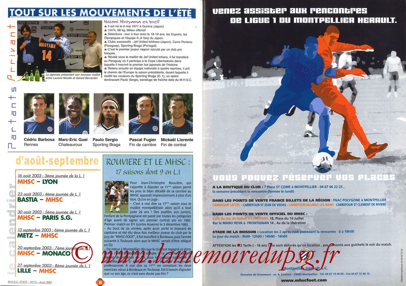 2003-08-30  Montpellier-PSG (5ème L1, MHSC Foot N°73) - Pages 08 et 09