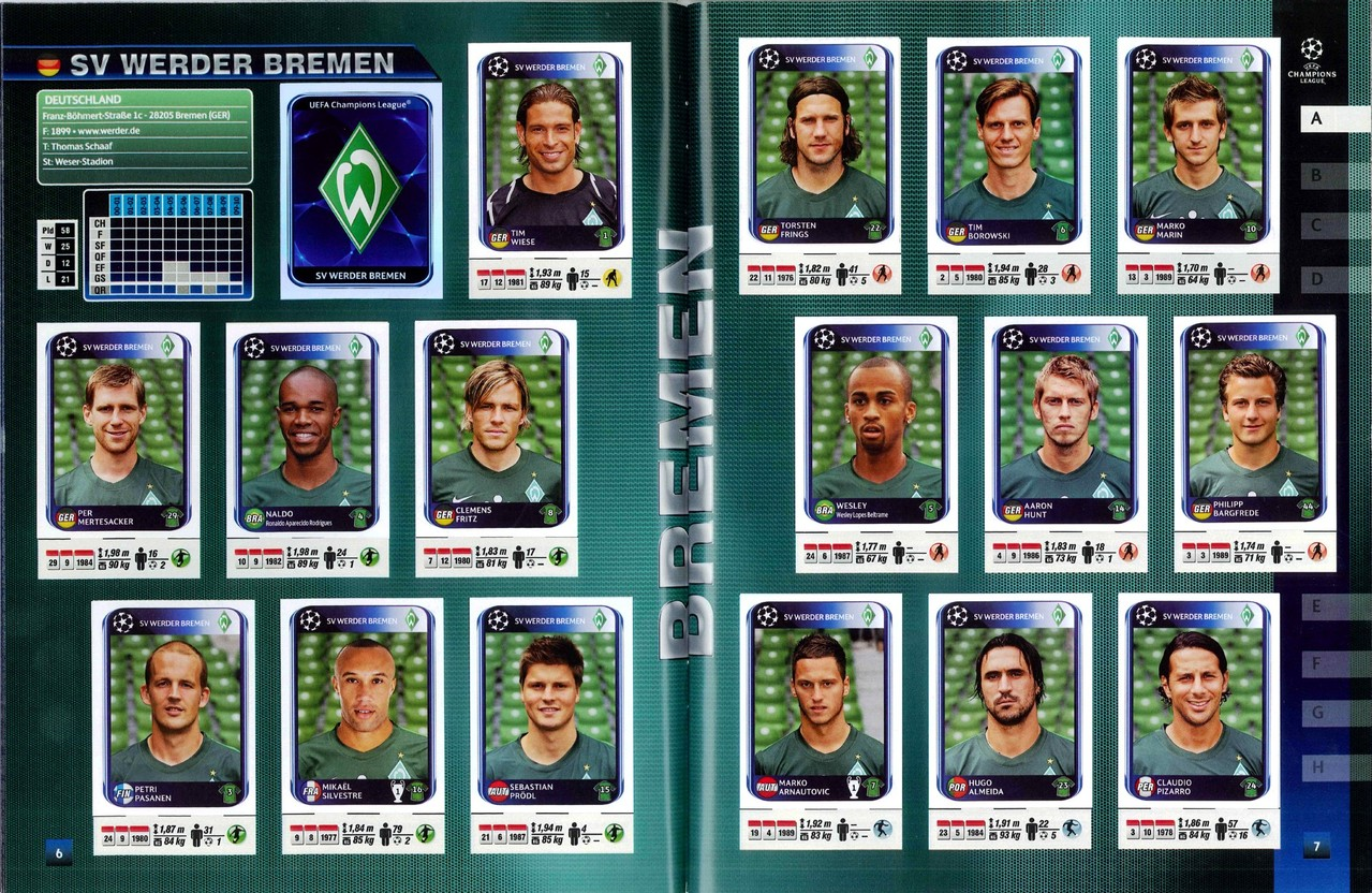 2010-11 - Panini Champions League - Pages 06 et 07 - SV Werder Brème