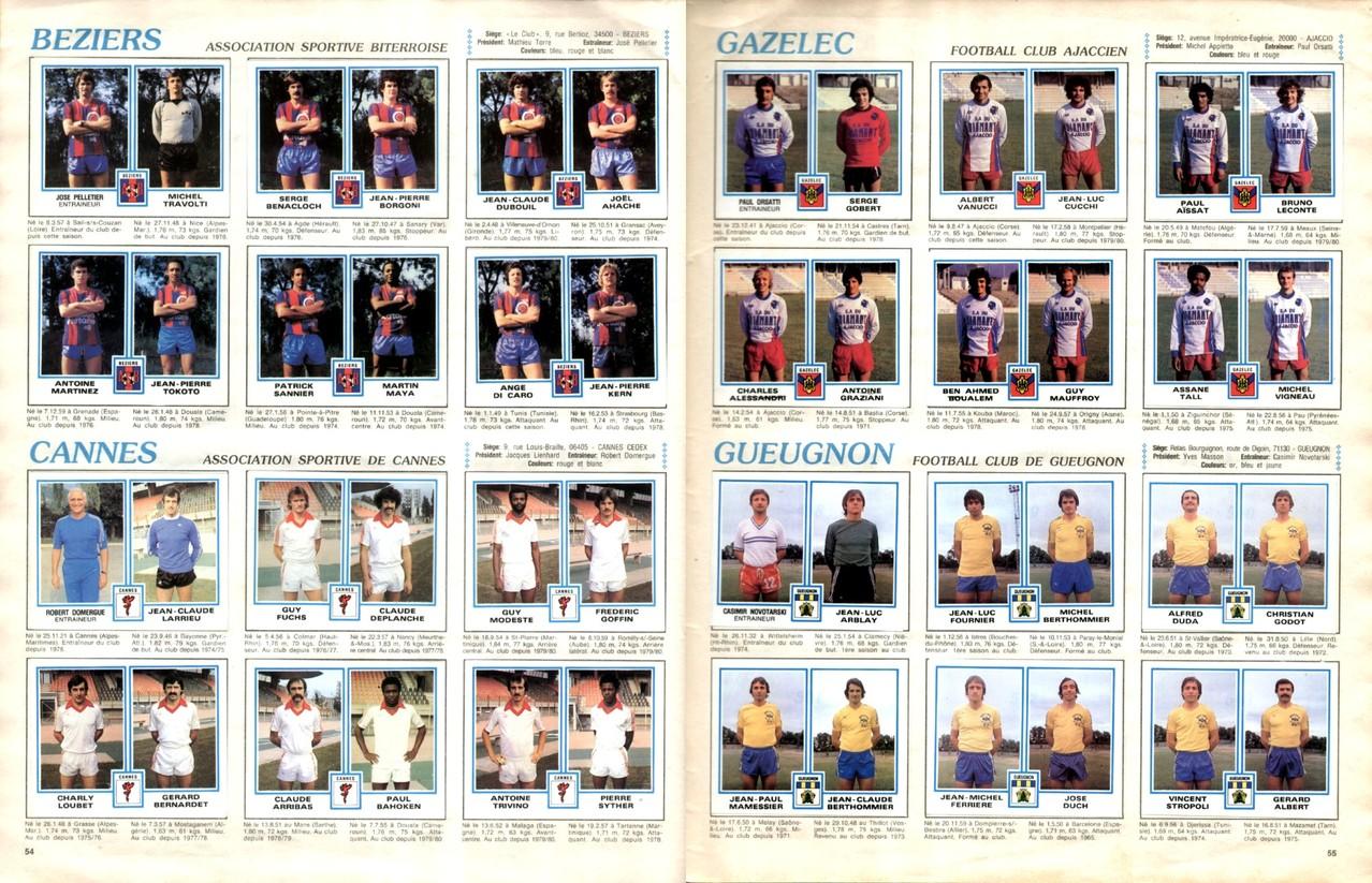 1979-80 - Panini 1980 - Pages 54 et 55 - AS Beziers et AS Cannes + Gazelec Ajaccio et FC Gueugnon