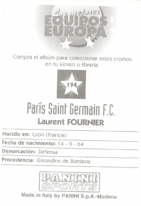 N° 194 - Laurent FOURNIER (Verso)