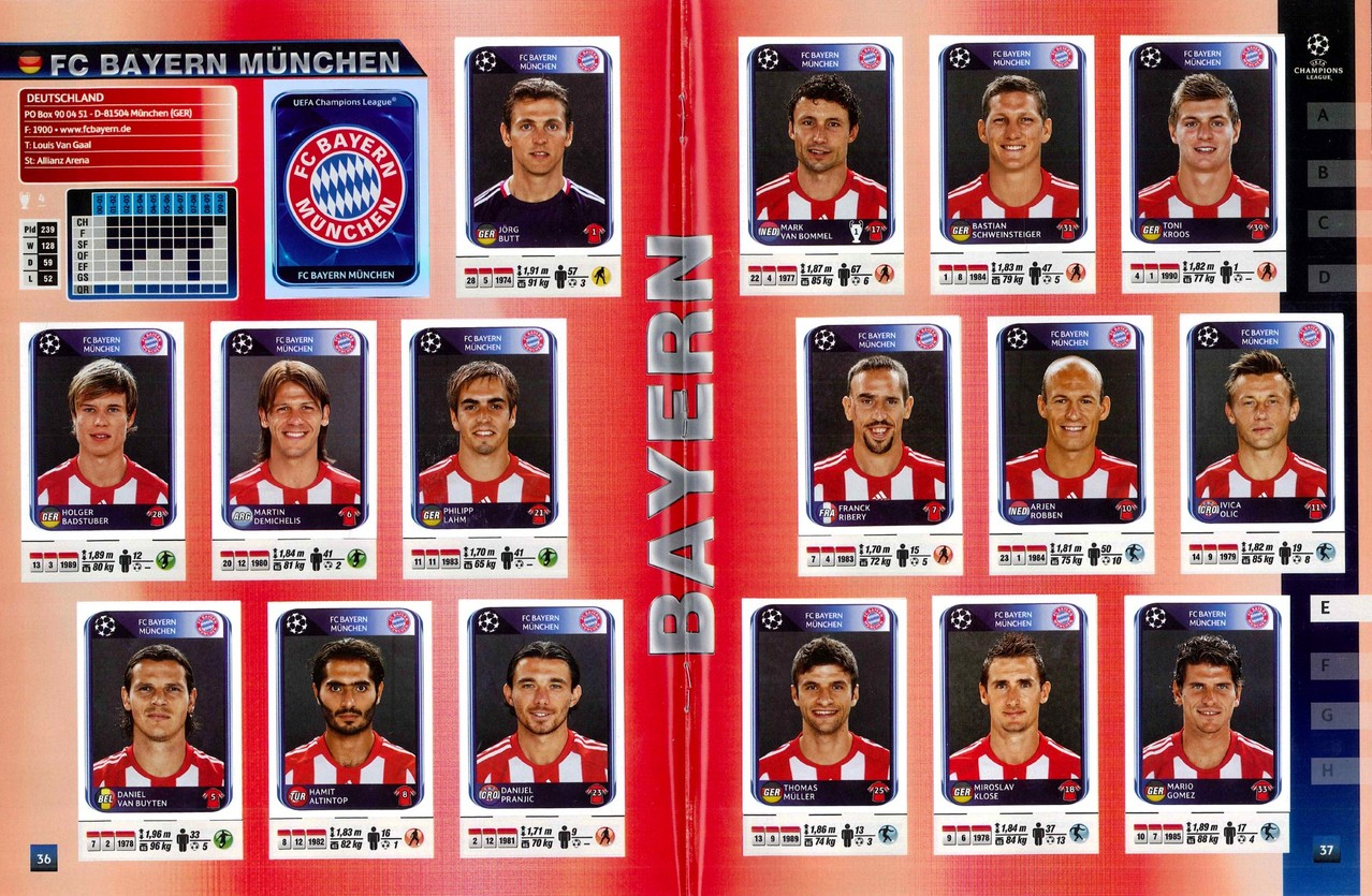 2010-11 - Panini Champions League - Pages 36 et 37 - FC Bayern Munich
