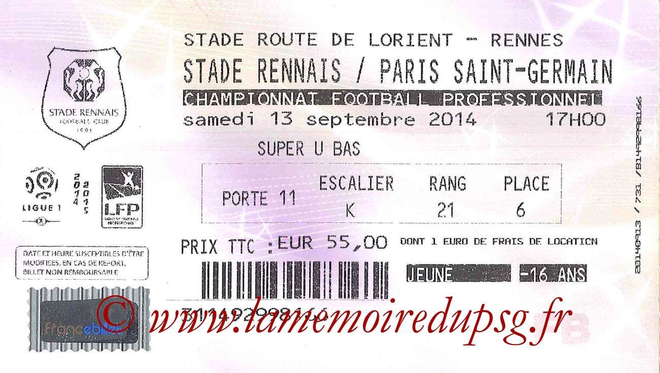 2014-09-13  Rennes-PSG (5ème L1, France Billet)