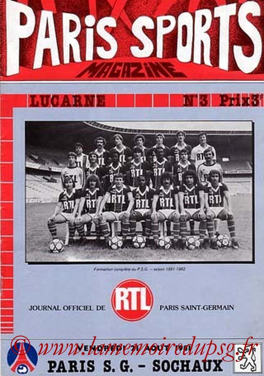 1981-08-21  PSG-Sochaux (6ème D1, Paris Sports Magazine N°3)