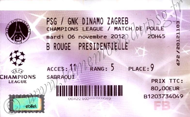 2012-11-06  PSG-Dinamo Zagreb (4ème Journée Poule C1, Billetel)