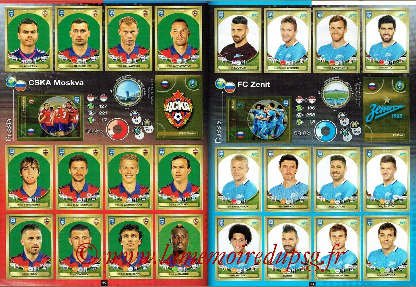 2016-17 - Panini FIFA 365 Stickers - Pages 40 et 41 - CSKA Moscou + FC Zenit