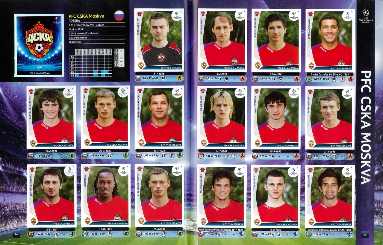2009-10 - Panini Champions League - Pages 14 et 15 - CSKA Moscou
