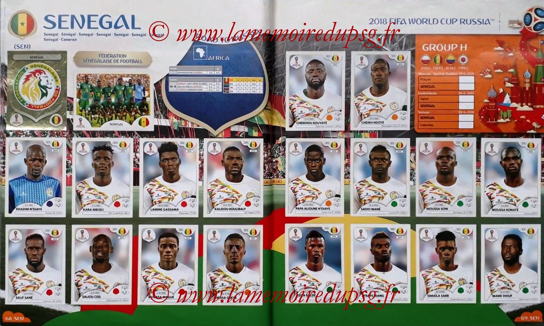 2018 - Panini FIFA World Cup Russia Stickers - Pages 68 et 69 - Senegal
