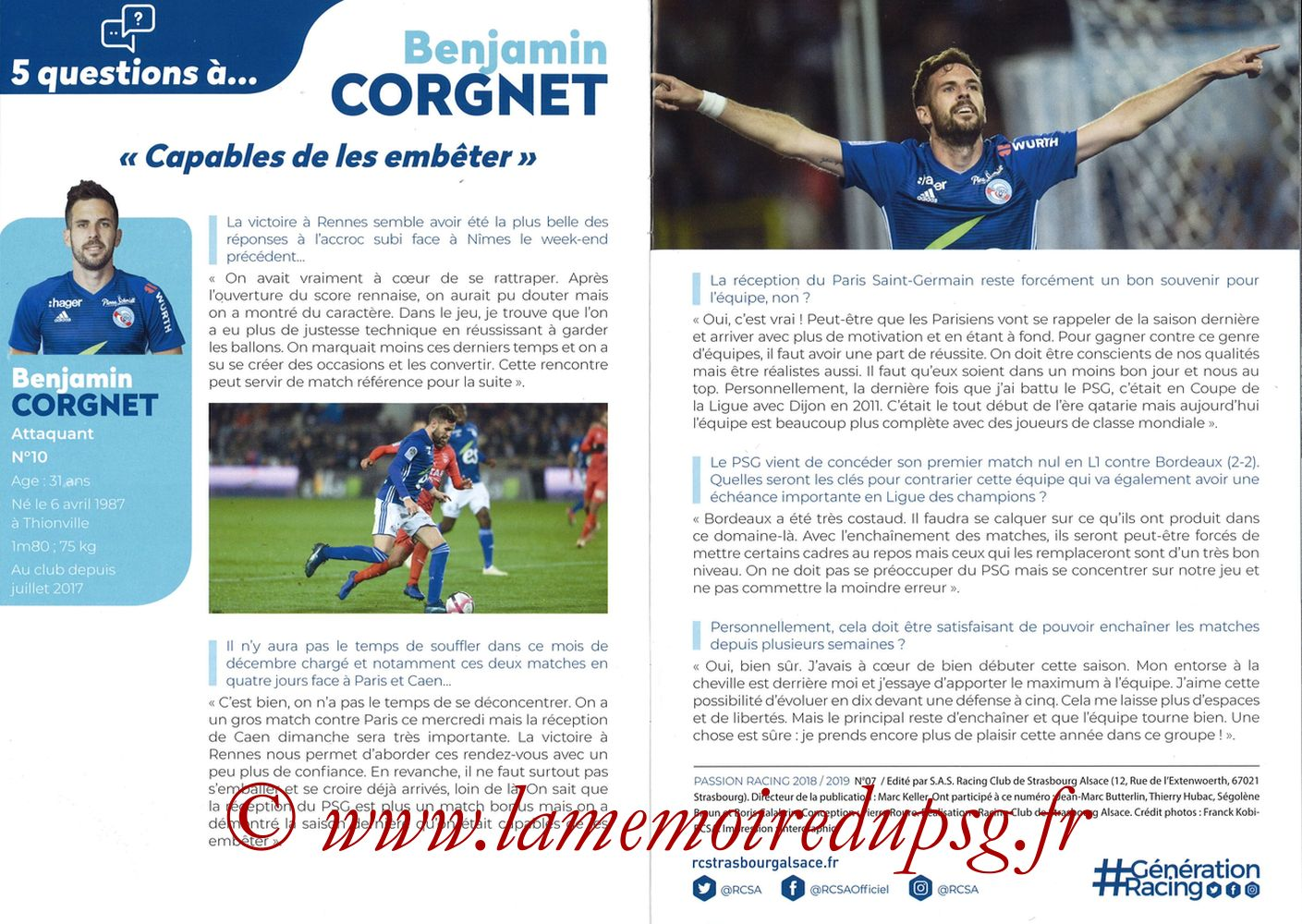 2018-12-05  Strasbourg-PSG (16ème L1, Passion Racing N°7) - Pages 04 et 05