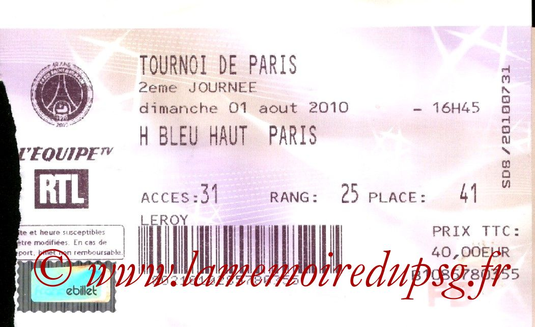 2010-08-01  PSG-As Roma (2ème journée Tournoi de Paris, Billetetl)