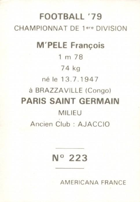 N° 223 - François M'PELE (Verso)