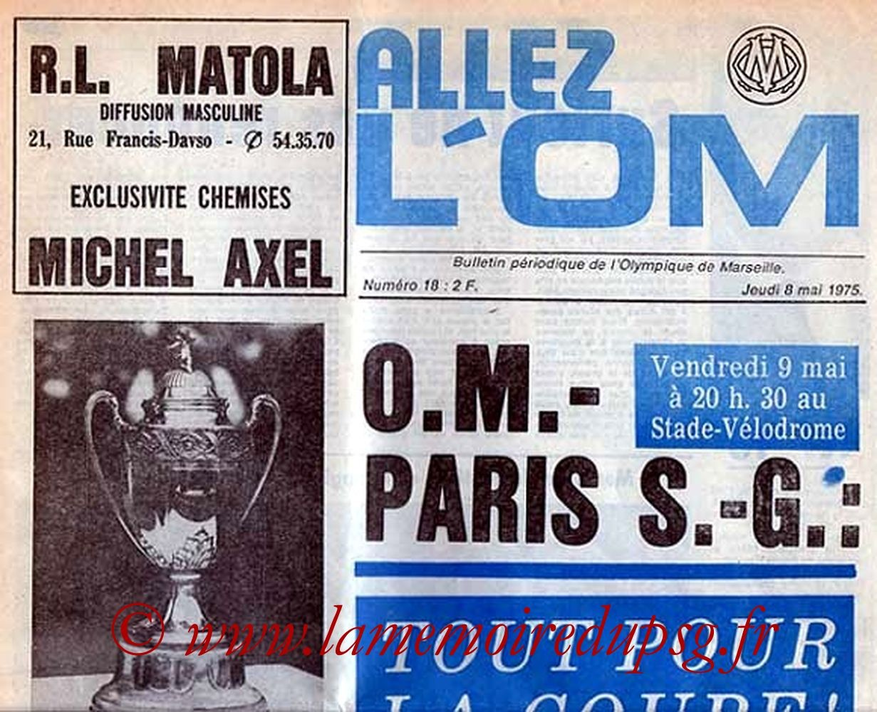 1975-05-09  Marseille-PSG (Quart Finale Aller CF, Allez l'OM, Collection JNT)