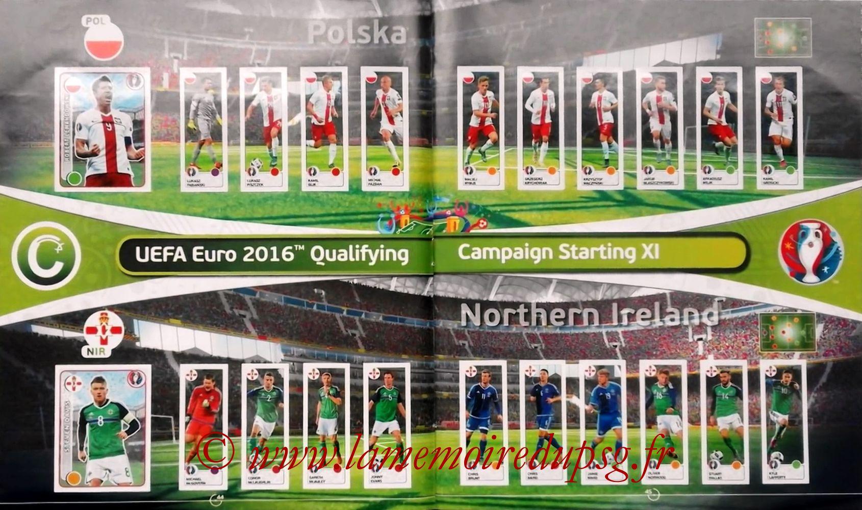Panini Euro 2016 Stickers - Pages 44 et 45 - Pologne et Irlande du Nord