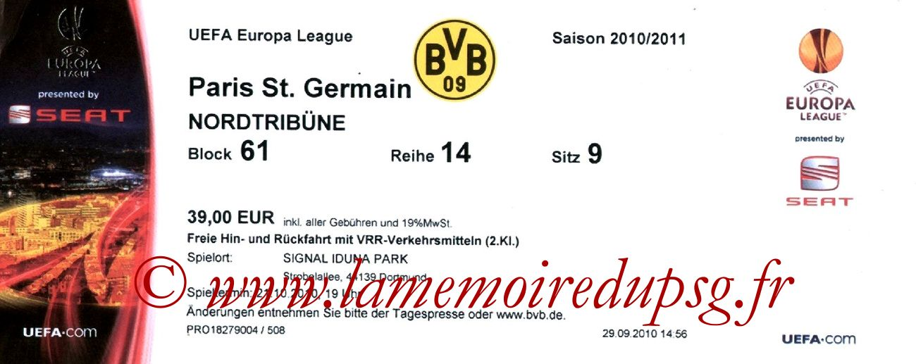 2010-10-21  Borussia Dortmund-PSG (3ème Journée Poule C3)