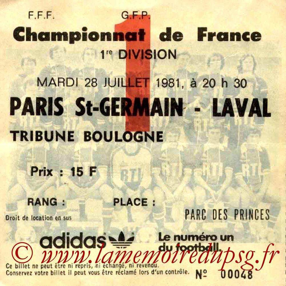 1981-07-28  PSG-Laval (2ème D1, Ticket N°1)