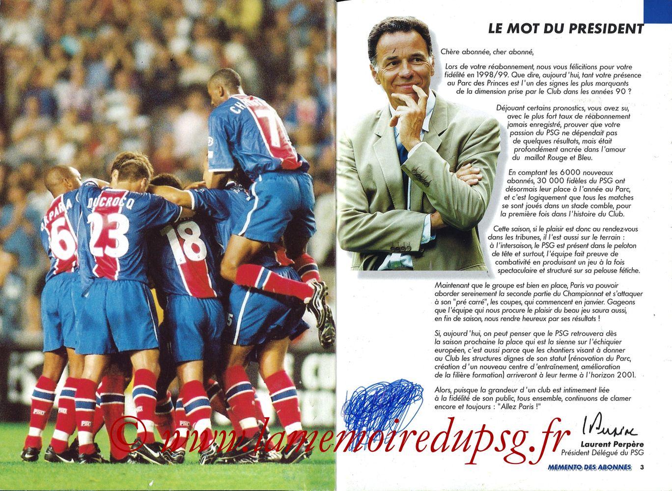 1999-00 - Guide de la Saison PSG - Pages 02 et 03