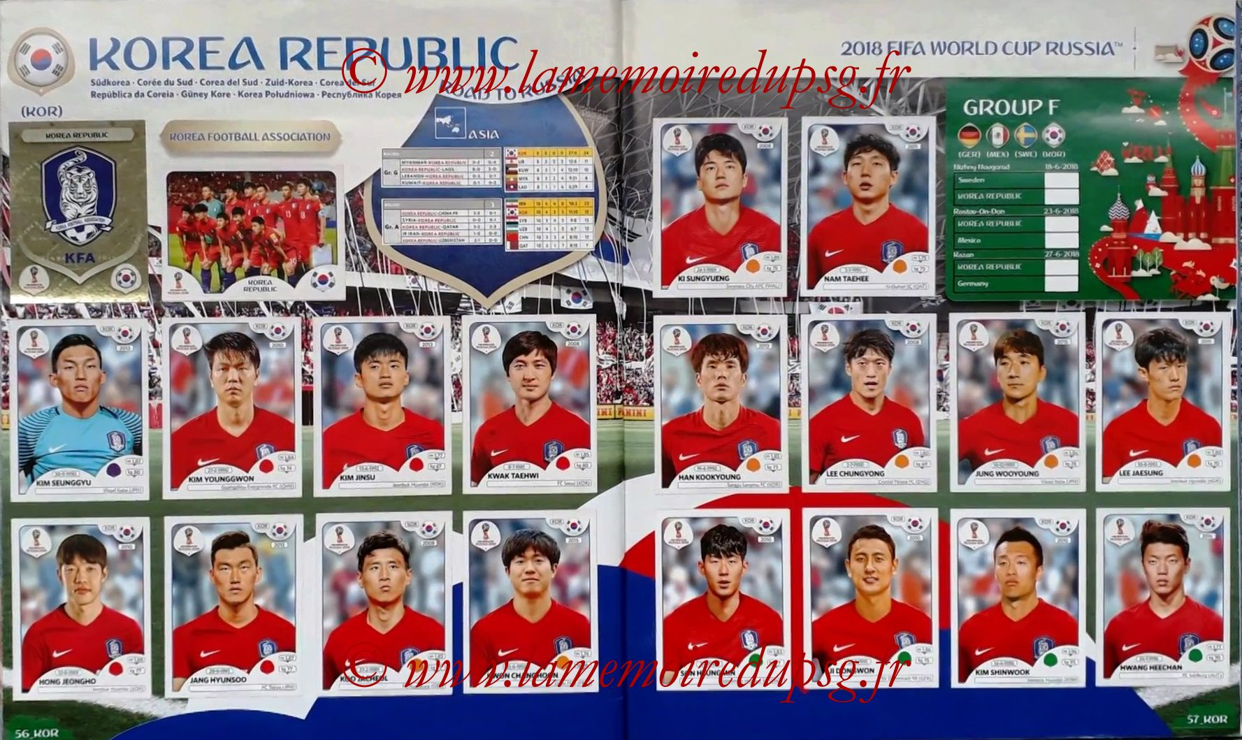 2018 - Panini FIFA World Cup Russia Stickers - Pages 56 et 57 - Coree du Sud
