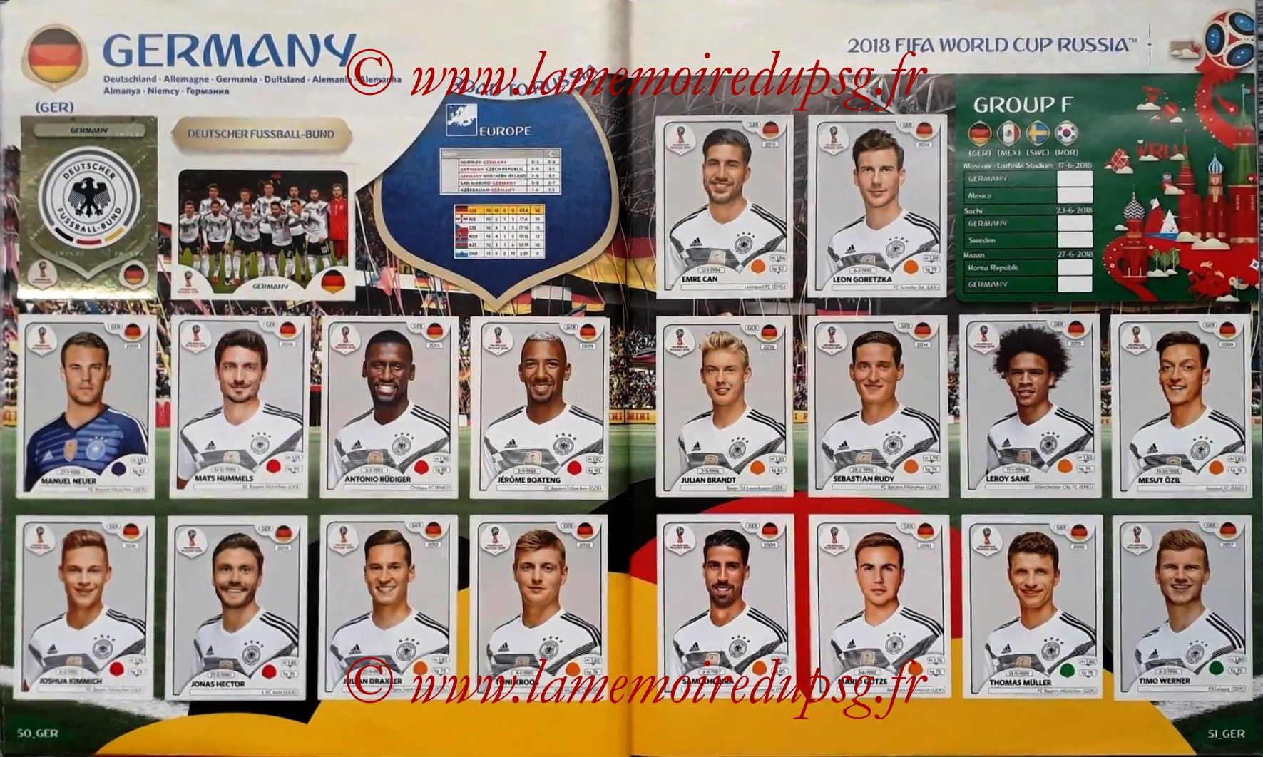 2018 - Panini FIFA World Cup Russia Stickers - Pages 50 et 51 - Allemagne