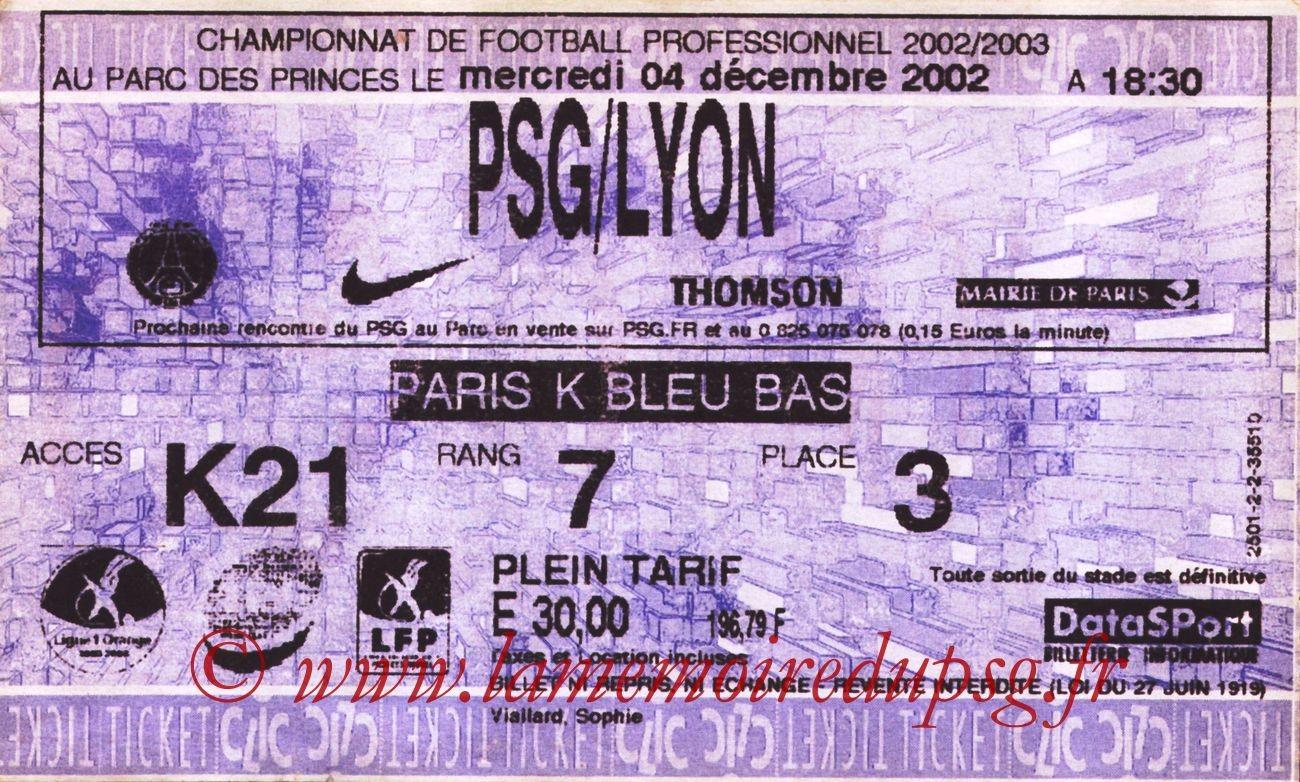 2002-12-04  PSG-Lyon (18ème L1, Ticketnet)