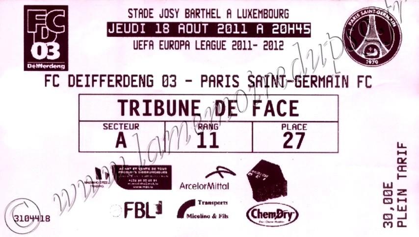 2011-08-18  Differdange-PSG (Tour Préliminaire Aller C3)