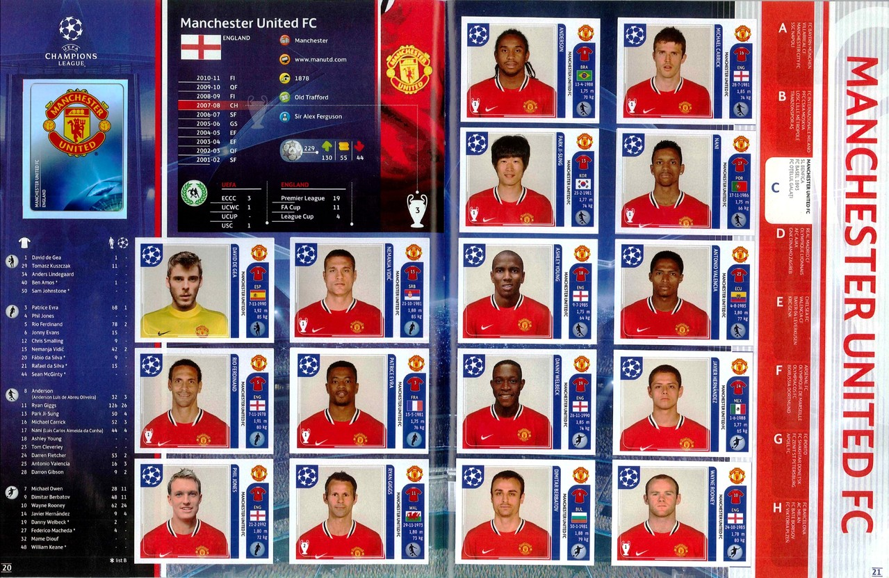 2011-12 - Panini Champions League - Pages 20 et 21 - Manchester United