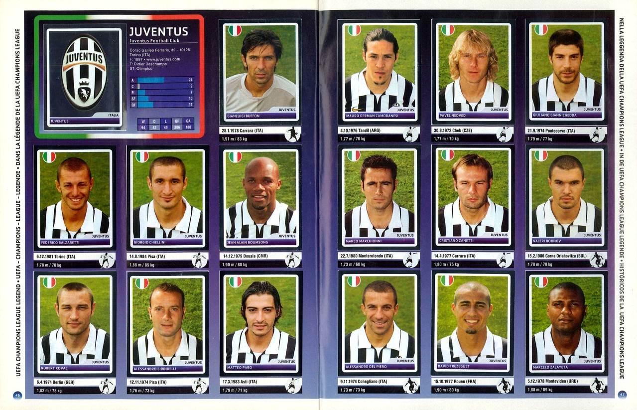 2006-07 - Panini Champions League - Pages 46 et 47 - Juventus Turin