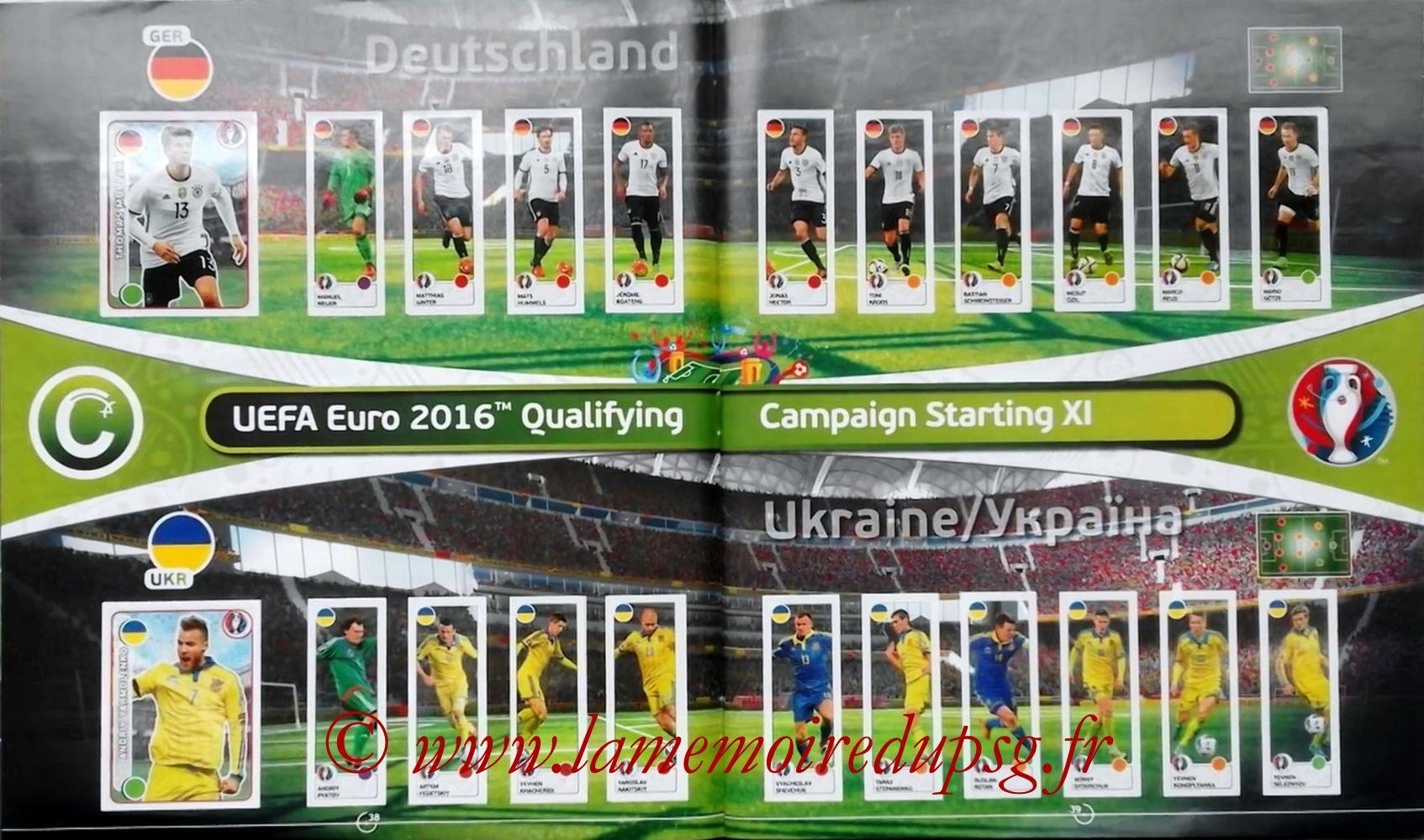 Panini Euro 2016 Stickers - Pages 38 et 39 - Allemagne et Ukraine