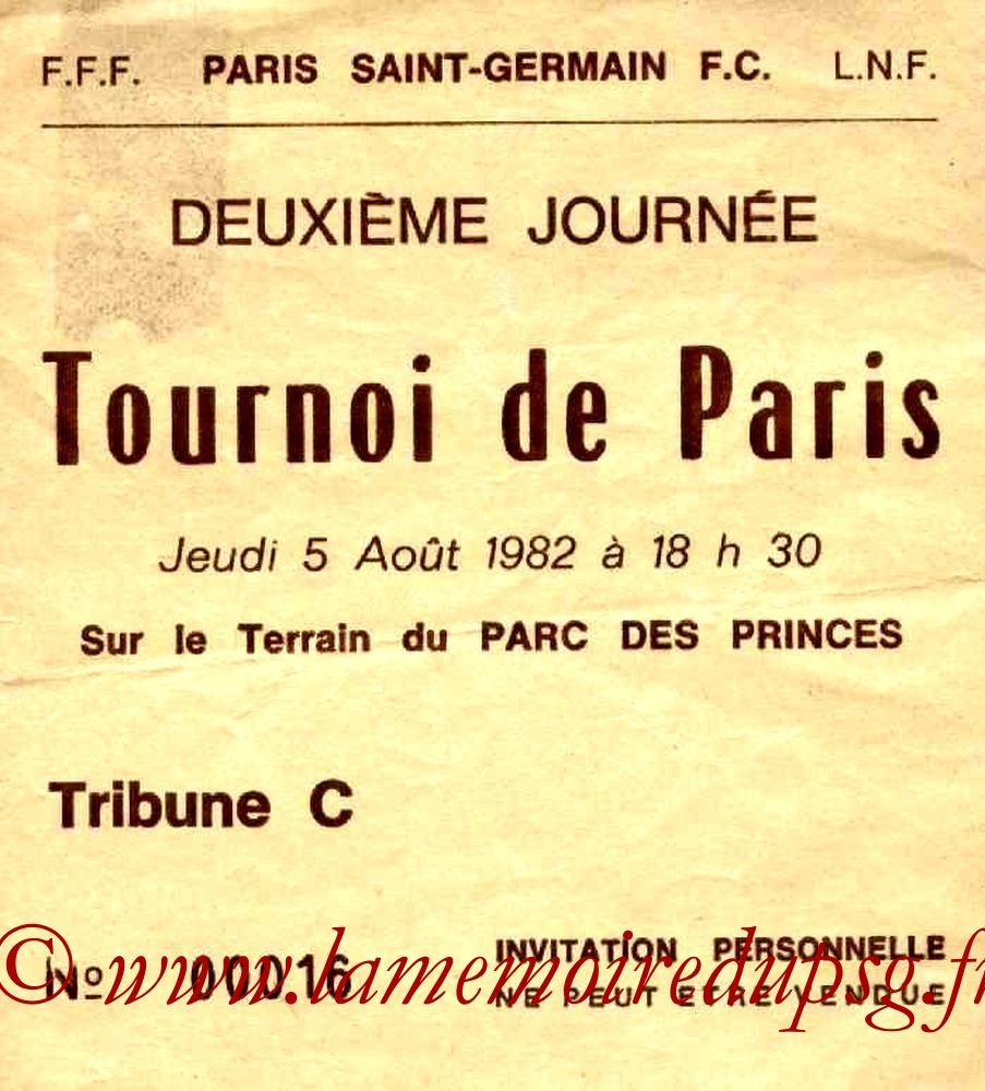 1982-08-05  PSG-FC Cologne (Finale Tournoi de Paris, Invitation)
