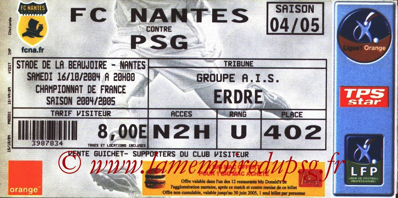 2004-10-16  Nantes-PSG (10ème L1)