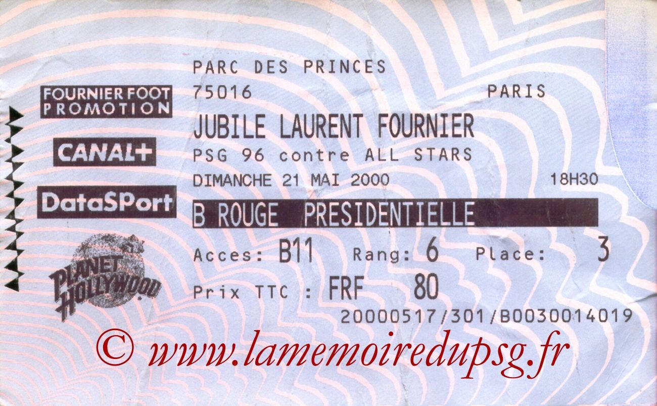 2000-05-21  Jubilé Laurent Fournier (Amical au Parc des Princes, Billetel)