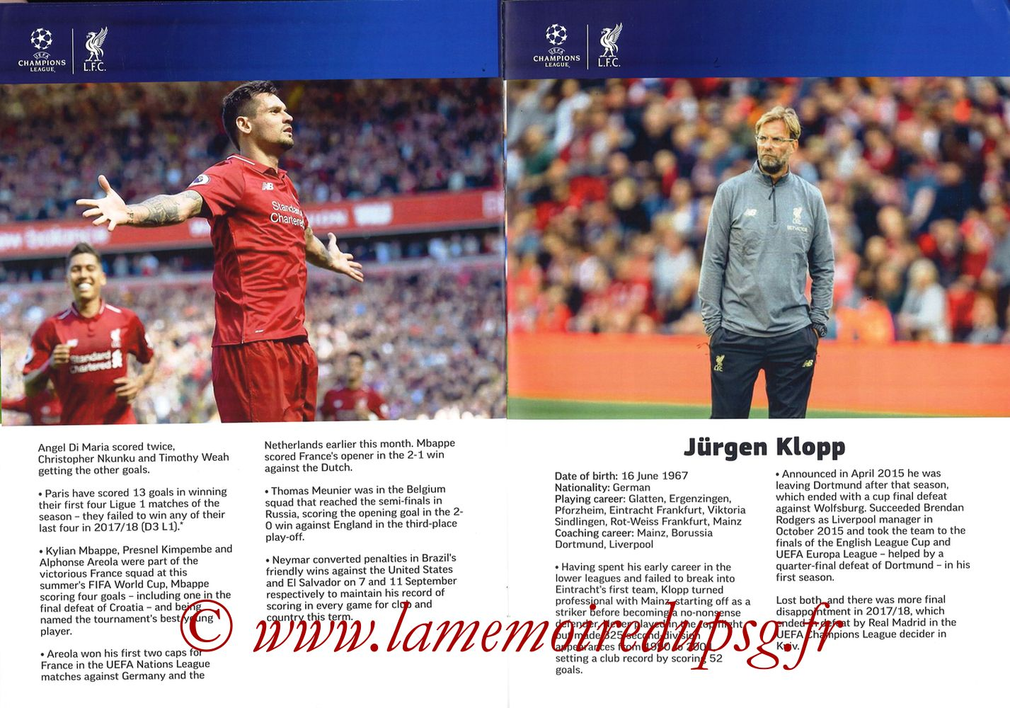 2018-09-18  Liverpool-PSG (1ère C1, Programme pirate) - Pages 08 et 09