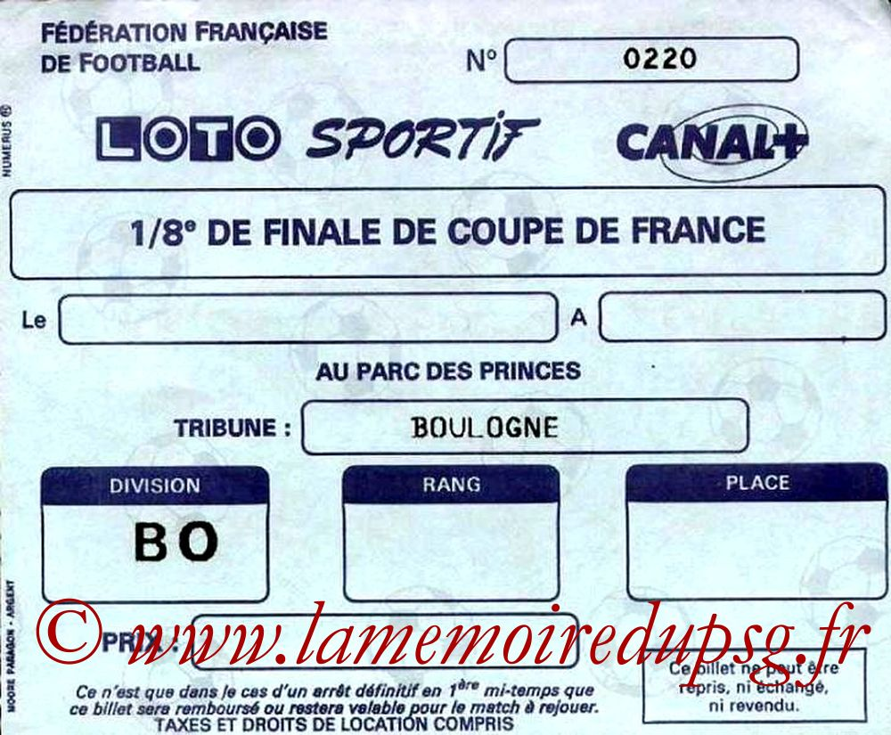 Ticket  PSG-Orleans  1988-89
